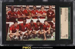 1959 Heinerle Brasilien Soccer Brazil Team w/ Pele ROOKIE RC SGC 5 EX