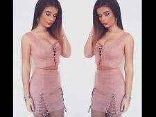 Women 2 Piece Co-Ord Twin Set Suede Shoelace Crop Top Bodycon PU Cut Skirt Party