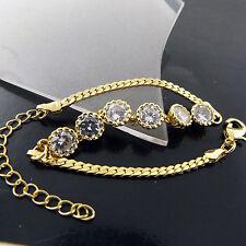 FSA502 GENUINE REAL 18K YELLOW G/F GOLD LADIES DIAMOND SIMULATED BRACELET BANGLE