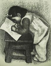 Léon DEVOS (1897-1974) Fillette écrivant estampe beau tirage 47 cm c1980