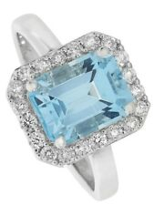 Blue Topaz and Diamond Ring Engagement White Gold Large Size F - Z Certificate