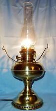 Antique Vintage B & H Brass Kerosene Oil Lamp Electrified Bradley and Hubbard
