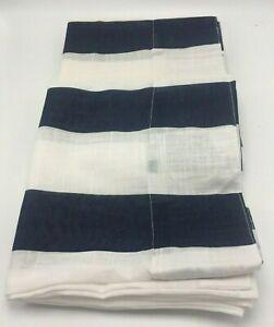 2 West Elm Curtain Drape Panels Sttiped Navy White Lightweight 48 x84 Cotton EUC