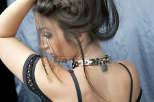"18.5"" Flexible Chain Locking Heavy Weighted Bondage Slave Collar with Padlock"