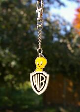 WB Tweety Bird Warner Bros. Brothers Gold Tone Metal & Enamel Keychain Clip