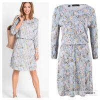Bonprix @ Kaleidoscope Sz M 14 16 Blue Grey Multi Floral Print 3/4 Sleeve DRESS