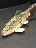 Vintage Spearing Ice Fishing Wood Hand Painted Carved Fish Decoy Trout Weighted
