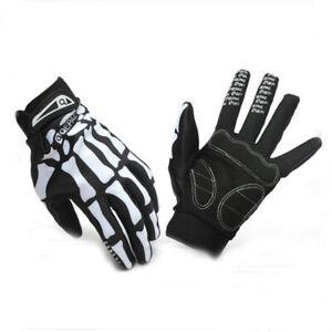 Bicycle Skeleton Pattern Full Finger Warm Bike Sports Glove Black /& White M