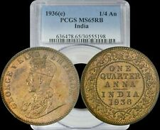 1936(c) India 1/4 Anna PCGS MS65 RB Lightly Toned
