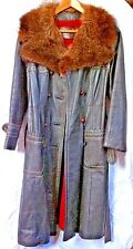 24 K Leather Dan Di Modes Leather Trench Coat with Real Fur Collar Vintage