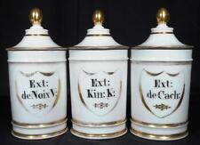 c.1850 Three Paris Porcelain Pharmacy Apothecary Jars - Stamped