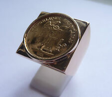 Seal ring gold square with piece Gold 20 Francs Engineering