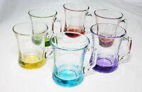 Tea Coffee Mug Cup 6Pc Coloured Base Glassware Set Dinner Juice Dining 225ml