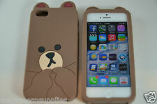 Brown Teddy Bear Cute Animal - iPhone SE 5S 5G 5 Silicone Gel Full Back Case NEW