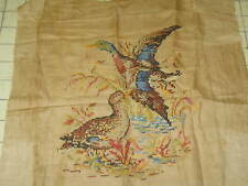 """Antique Sampler Hand Embroidery Linen Tapestry Textile Wild Birds 16""""x20"""" Finish"""