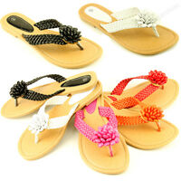 Womens Beaded Flip Flops Flat Beach Sandal Braided Strap Thongs Flats Sandals