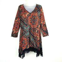 Honeyme Women's Tunic Top Blouse Size Small Boho Fringed Hem 3/4 Sleeves Theo755