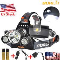 BORUiT 15000 Lumen Headlamp CREE 3x L2 LED Headlight Light Charger 18650 Battery