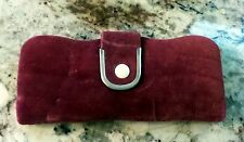 Vintage Burgundy Velvet Manicure Purse with 4 Pairs Cuticle Scissors and File