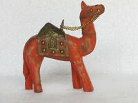 Handcrafted Wooden Brass Fitted Camel Statue Home Decor
