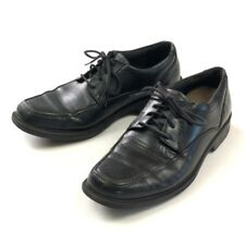 Clarks Black Leather Derby Shoes Mens Size 8 M Apron Toe Lightweight Walking