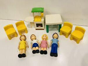 Vintage Little Tikes Dollhouse Furniture Family Green Kitchen Table Chair Yellow