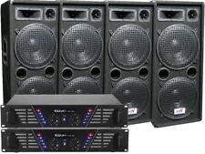 4 x Boxen 30 cm Bass 2 x Verstärker Set Anlage 4800 Watt DJ PA Party Disco Profi