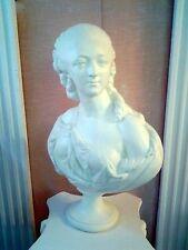 STATUE Sculpture,BUSTE comtesse du barry couleur ivoire en staff (plâtre)