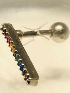 Body Jewelry: Rainbow Pride Bar 316L Surgical Steel 16 Ga.For Cartilage Piercing