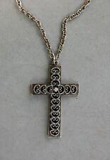 """Rope Chain Silver Tone Spanish Style L Razza Designer Cross Pendant Necklace 24"""""""