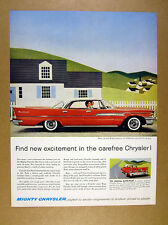 1958 Chrysler Windsor Dartline red car photo vintage print Ad