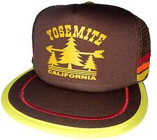 Yosemite California Park Hiking Brown 3 Striped  Snapback Mesh Trucker Hat Cap