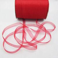 """Christmas hot sale 50 Yards 3/8"""" Edge Sheer Organza Ribbon Craft Satin Red"""