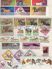 kl. Sammlung von 92 Marken mit Pferdemotiven