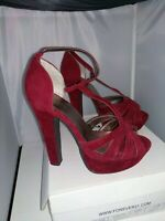 New! Forever 21 Burgundy Women's High Heel Peep Toe Platform Shoes Size 7 and 9