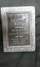 ~NEW FIRST NATIONAL BANK BOOK FORM COIN STILL BANK FROM IOWA~