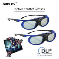 2x BOBLOV JX-30 3D Active Shutter Glasses DLP-Link USB For Optoma BenQ Acer DELL
