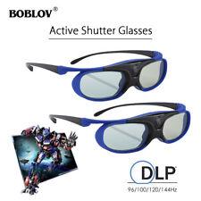 2x BOBLOV JX-30 3D Active Shutter Glasses DLP-Link USB For Optoma BenQ Acer DELL