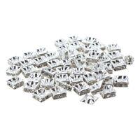 50 silberne quadratische Strass Rondelle Distanzhalter Perlen 8MM HEISS