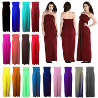 New Womens Sheering Boobtube Bandeau Maxi Dress Long Jersey Strapless Maxi 8-22