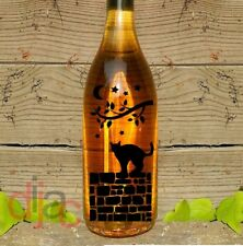VINYL DECAL STICKER CAT ON A WALL for WINE BOTTLE, CANDLE, LANTERN 17.5 x 8 cm