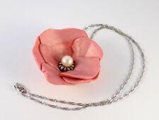 Collier Argent 925 Fleur Saumon Perle Nacre Zircones