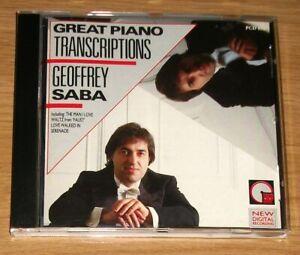Great Piano Transcriptions - Geoffrey Saba CD - AS NEW