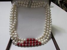 Handmade 3 Layer Natural White Freshwater Pearl/ Red Coral Necklace Mother's day