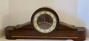 Antique German Art Deco Large Footed Oak Mantel Shelf Clock Germany