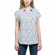 Pleione Ladies Short Sleeve Blouse, French Blue Paisley, US Size: L