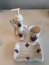 4 Pc Athena Vintage Ceramic Bath Dish Set - Purple Flowers - Made in USA