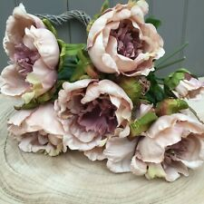 Bunch of 5 Antique Purple /Pink Artificial Silk Peonies ,Beautiful Faux Flowers