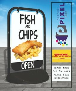 Fish & Chips A BOARD PAVEMENT SHOP SIGN CATERING RESTAURANT ALUMINIUM DISPLAY
