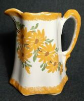 "VTG Clinchfield Cash Family Pottery 7.5"" Yellow Floral Pitcher Hand Painted USA"